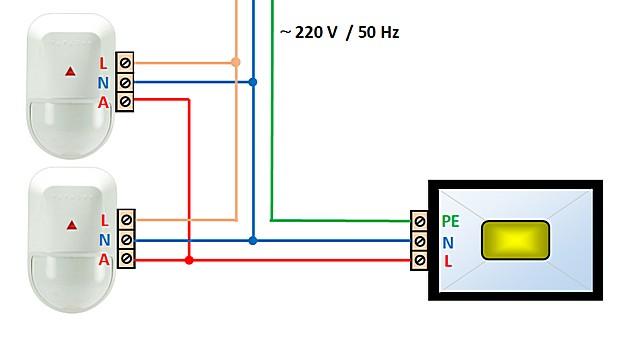 Параллельное подключение двух датчиков движения