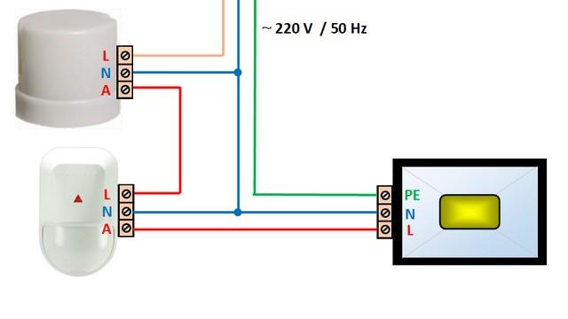 Схема последовательного подключения фотореле и датчика движения