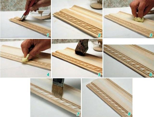 Последовательность работ при окрашивании резного деревянного плинтуса