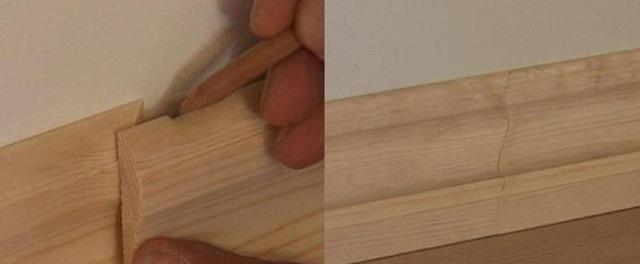 Порядок разметки и стыковки плинтусов на прямом участке стены. Запилы также рекомендуется делать под углом в 45 градусов.
