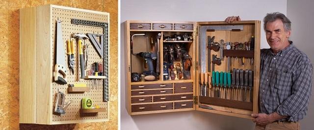 Весьма компактный с виду навесной шкаф. Но зато вмещающий в себя много полезных приспособлений и инструментов для выполнения домашних работ.