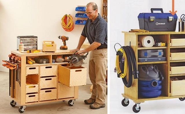 Мобильные шкафы для инструментов очень удобны для работы в гараже.