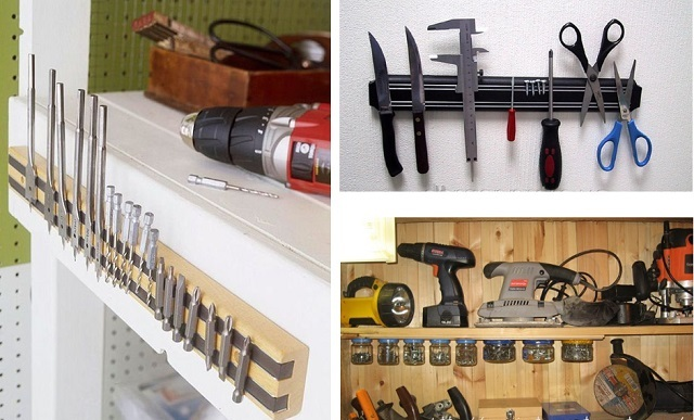 Магнитные полосы хорошо удерживают на своей поверхности небольшие металлические инструменты и расходники, которые хочется всегда иметь под рукой.