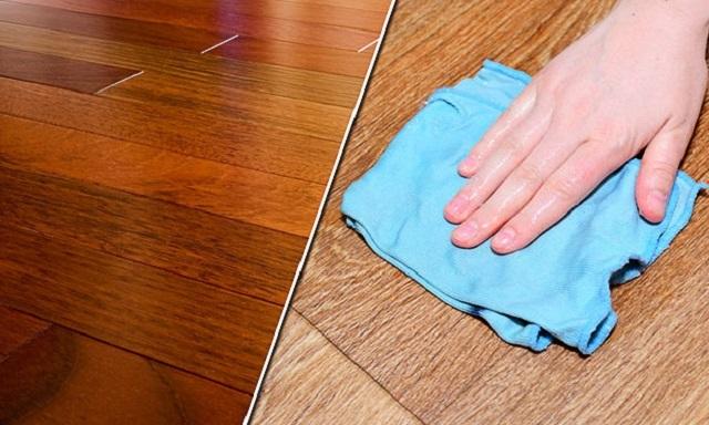 Распределение мастики или полироли по ламинату.