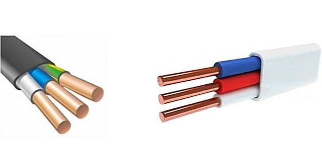 Слева – кабель ВВГнг 3×2,5, справа – провод ПУМП с таким же количеством жил и их сечением. Кабель пригоден для прокладки скрытой проводки, и провод – совершенно для этого не подходит.