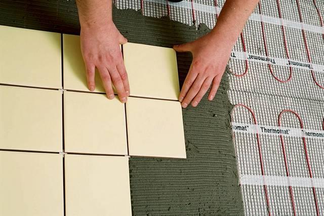 Укладка плитки на сетчатые нагревательные маты с резистивным кабелем
