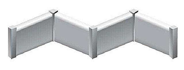 Схема расположения стыковочных столбиков на внутренних и внешних углах обрамления.