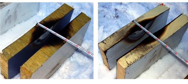 Результаты огневых испытаний точечным источником пламени. Слева – мат из базальтовой минеральной ваты, справа – PIR плита.
