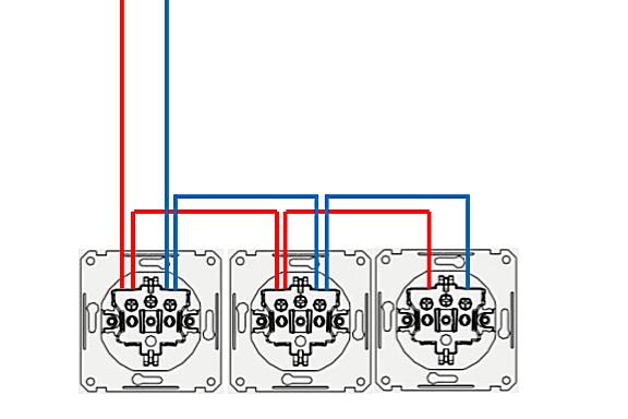 Способ подключения блока розеток к сети без заземления – шлейфом.
