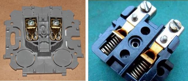Чаще встречаются розетки с лепестковыми контактами (на иллюстрации – слева). Но считается, что более надежное электрическое соединение со штырями вилки обеспечивают пружинные контакты.