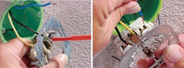 На левом фрагменте рисунка – затяжка провода в клемме винтом. На правом – клемма сработает автоматически при просадке зачищенного конца провода в гнездо до упора.