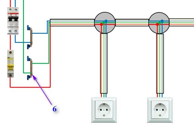 Схема подключения одиночных розеток к однофазной сети с контуром заземления