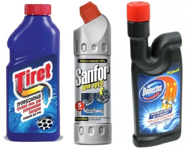 Химические составы для очистки унитаза от засоров.