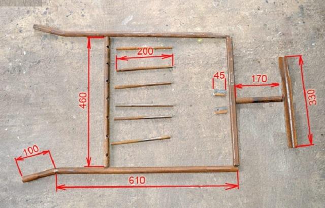 Детали для опорной рамы с передними вилами.