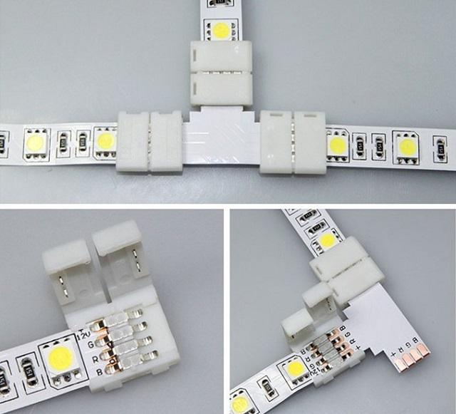 Соединение светодиодных лент LED-коннектором.