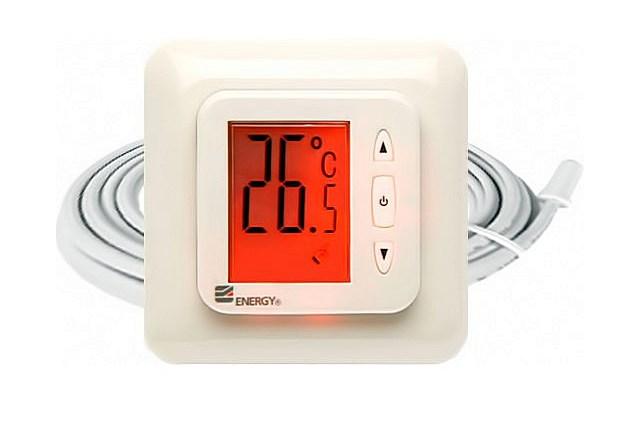 Терморегулятор Energy TK02 – позволяет точно вставить температуру нагрева пола и отслеживать ее текущее значение. Но на этом, увы, его функциональность и ограничивается.