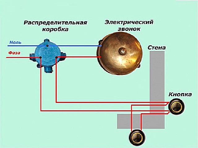Схема подключения электромеханического звонка, соединяемого с двумя кнопками.