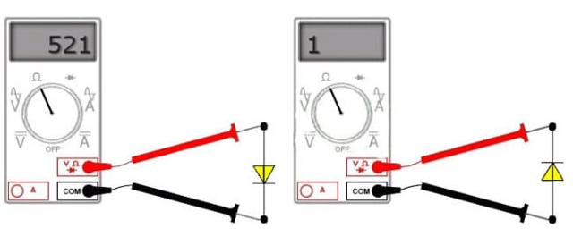 Проверка диодов мультиметром в режиме измерения сопротивления