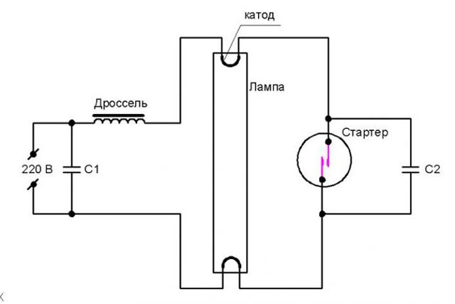 Схема №1: Подключение одной люминесцентной лампы