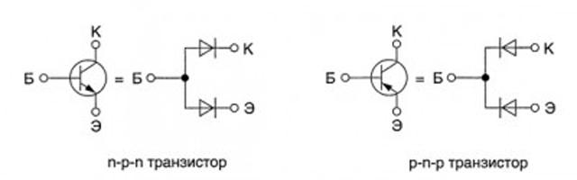 Транзистор можно представить как два диода
