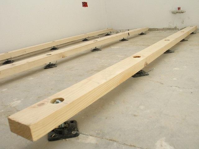 Регулируемые шпильки на квадратной ножке, закрепляемой к полу.