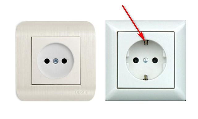 Различия в розетках стандарта С (слева) и F (справа). Разница только в наличии заземляющего контакта.