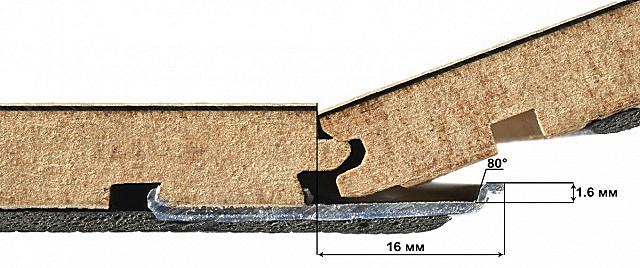 Алюминиевое усиление замкового соединения влагостойкого ламината «Berry Alloc» - 34 класс.