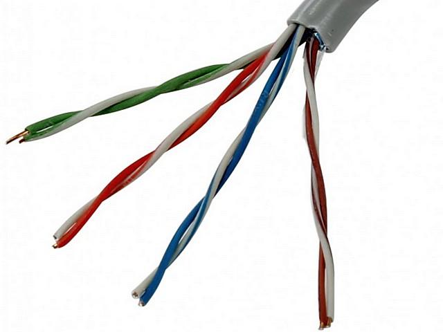 Самый распространенный вариант для домашних сетей – кабель с четырьмя витыми парами проводов
