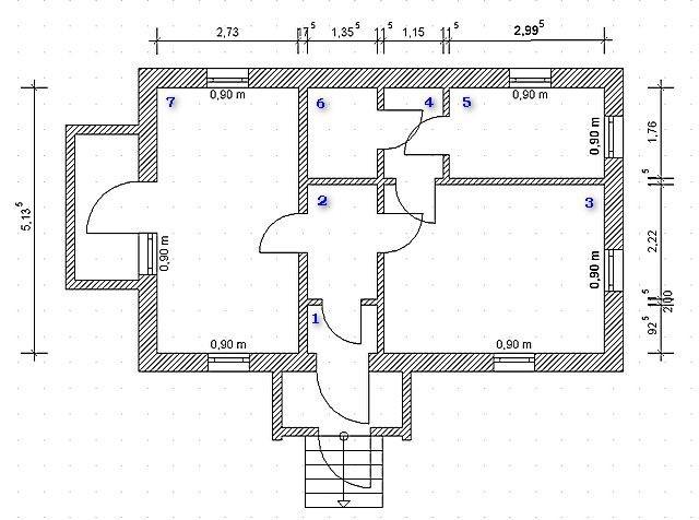 План дома с указанием всех размеров и площадей помещений является хорошим подспорьем для расчета теплопотерь