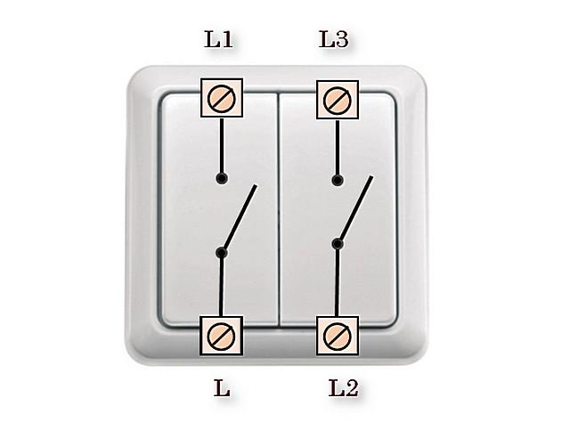 Выключатель двухклавишный с раздельным входом фазы