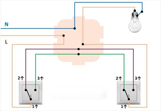 Подключение пары одноклавишных проходных выключателей