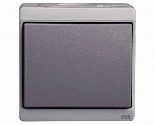Выключатель накладной с классом защиты корпуса IP55. Такой можно установить даже на улице или в сыром подвале.