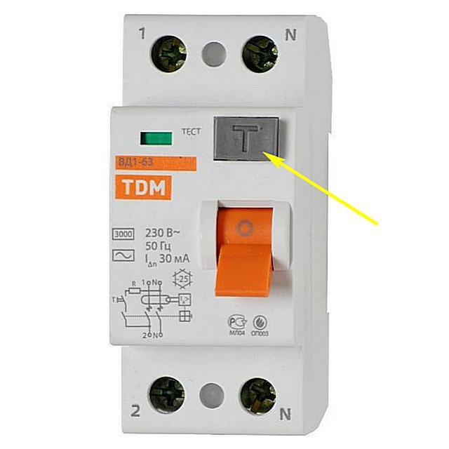 Нажатие на кнопку «Тест» при подключенном на входе напряжении должно вызывать срабатывание защиты
