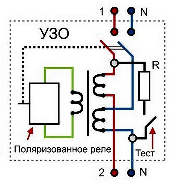 Принципиальная электрическая схема дифференциального выключателя (УЗО).
