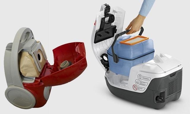 Пылесосы для сухой уборки: с мешком-пылесборником и с водяным фильтром.
