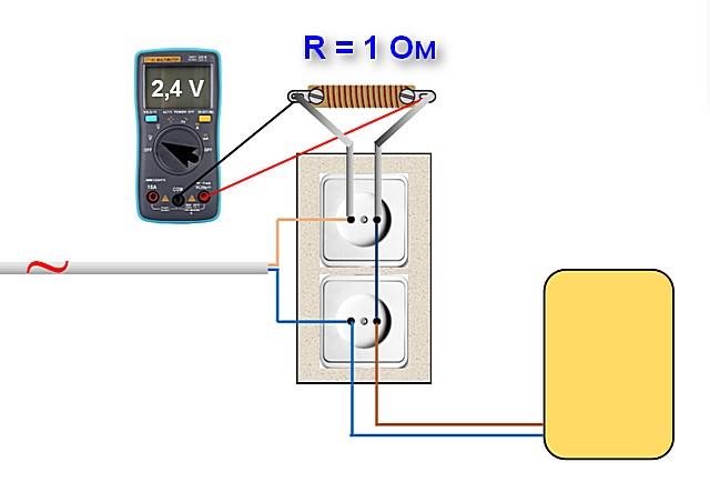 Самодельный резистор сопротивлением 1 ом установлен в разрыв цепи. Замерив на нем переменное напряжение, одновременно получим и точное значение силы тока.