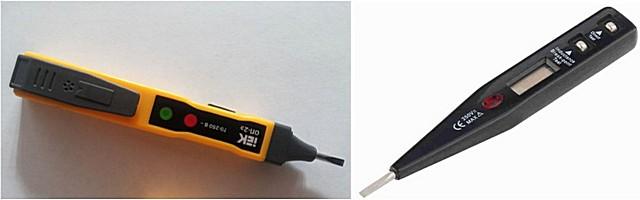 Электронные индикаторные отвертки: слева — со световой и звуковой индикацией, справа — еще и с цифровым дисплеем