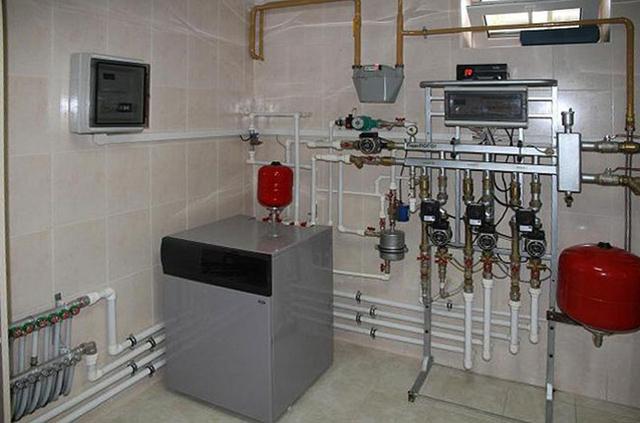 Напольный газовый котел: обвязка на стене котельной