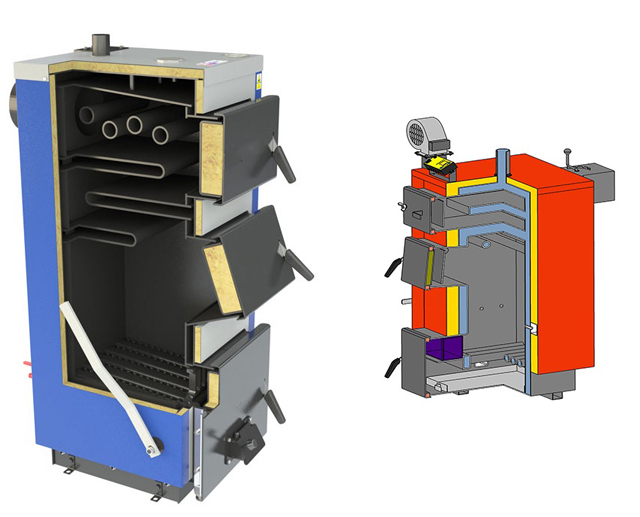 Примеры конструкции твердотопливных стальных котлов