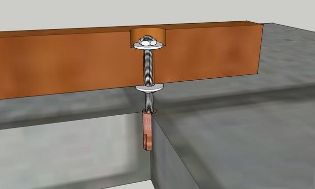 Примерная схема крепления бруса к поверхности пола с использованием шпильки-дюбеля и двух гаек.