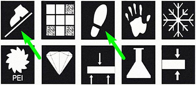 Значок ботинка на наклонной плоскости говорит о противоскользящих качествах облицовки. А след ноги указывает, что керамическая плитка предназначена именно для пола.
