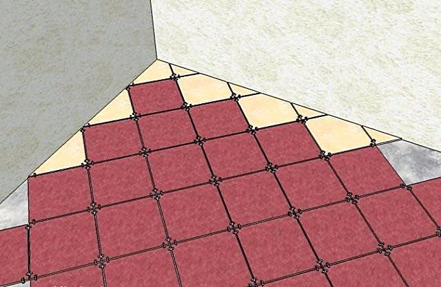 Пример составления схемы распределения плитки на поверхности пола.
