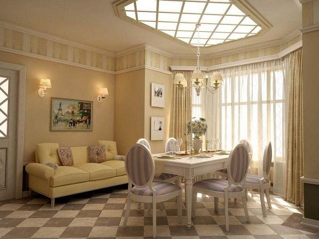 Оригинальный светильник на потолке смотрится, как еще одно окно, и значительно расширяет визуально пространство комнаты.