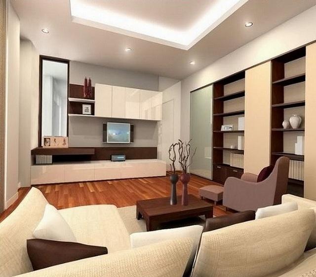 В этом проекте гостиной для общего освещения использованы точечные светильники, а также светодиодная лента.