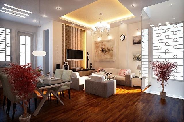 Зональное освещение большой гостиной.