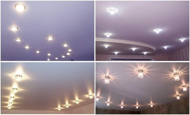 Точечные светильники на подвесных или натяжных потолках
