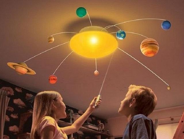 Оригинальная люстра для детской комнаты – макет Солнечной Системы
