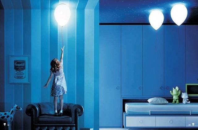 Светильники в форме воздушных шариков, закрепляемые на потолке, и включающиеся с помощью свисающего из них шнура. Не превратиться ли этот шнурок в довольно опасную «игрушку»?