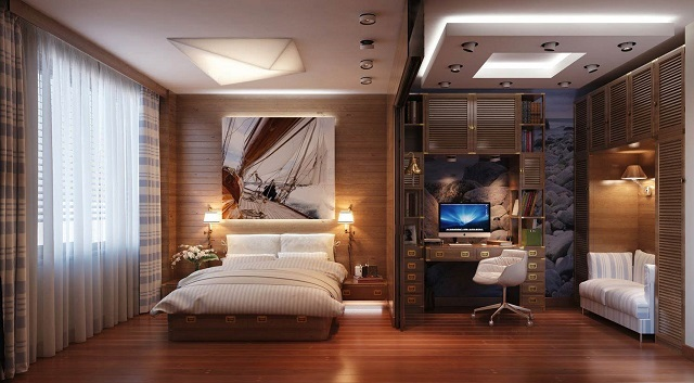 Спальня разделена на две зоны, и в каждой предусмотрена своя система освещения.