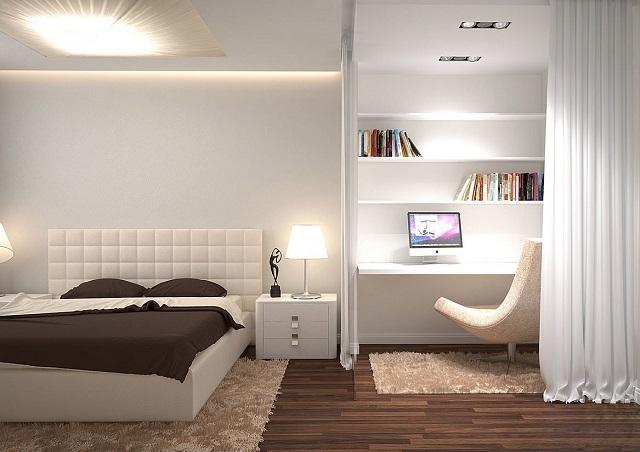 Проект спальни, разделенной на зоны с использованием небольшой перегородки